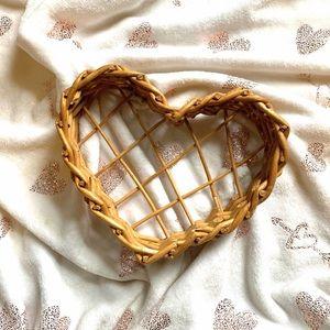 Heart Shaped Wicker Basket